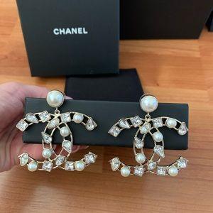 Chanel Large Crystal Pearl Hoop Jewel CC Earrings